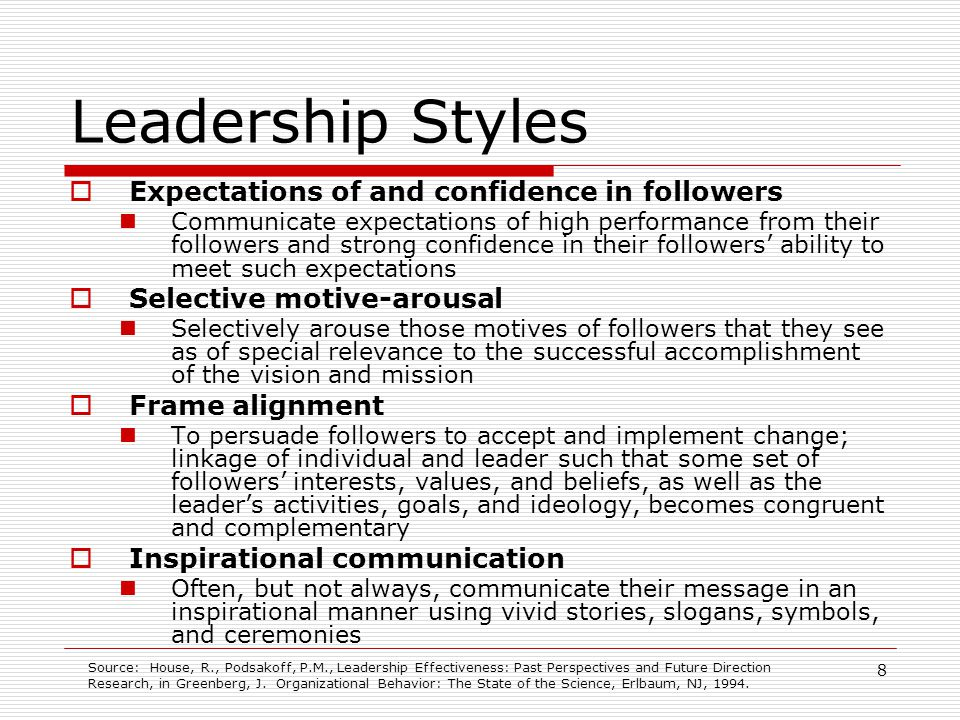 Leadership Styles Expectations of and confidence in followers