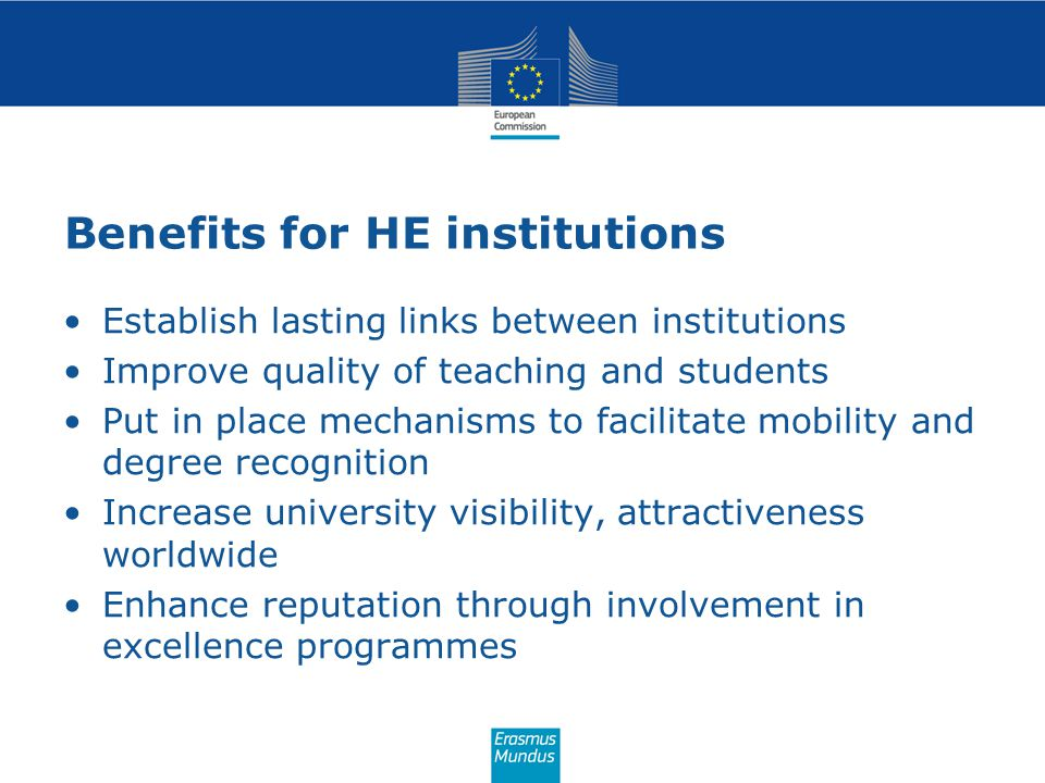 Benefits for HE institutions