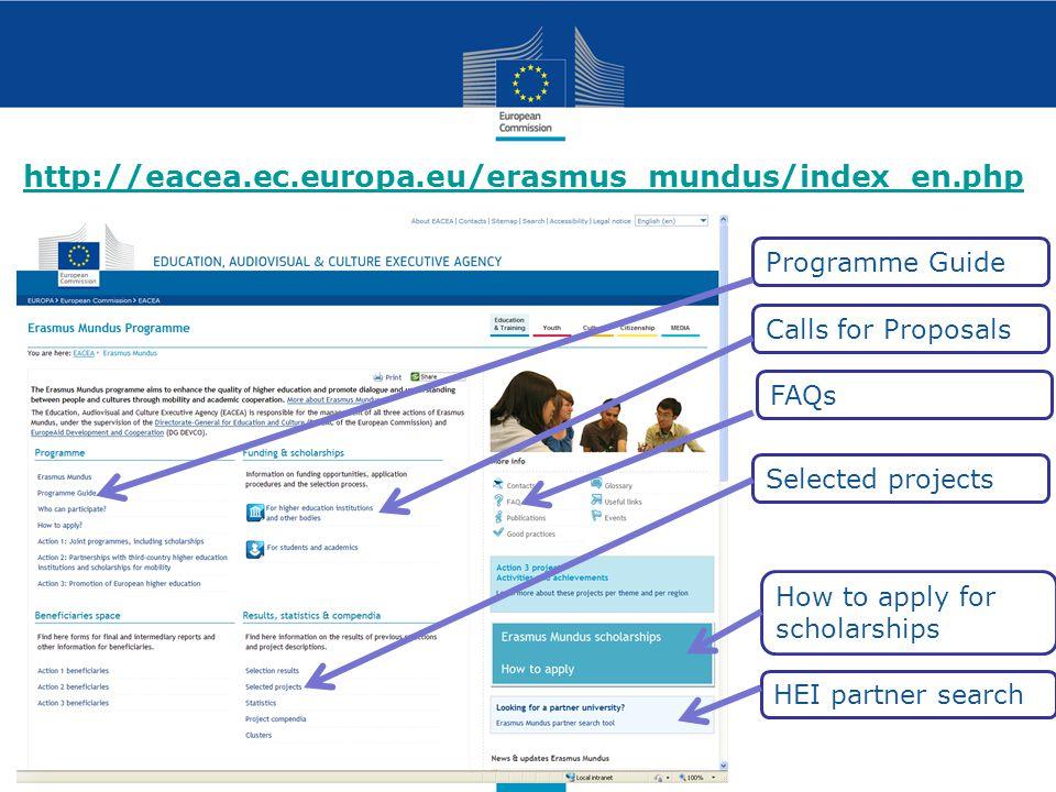 http://eacea.ec.europa.eu/erasmus_mundus/index_en.php Programme Guide