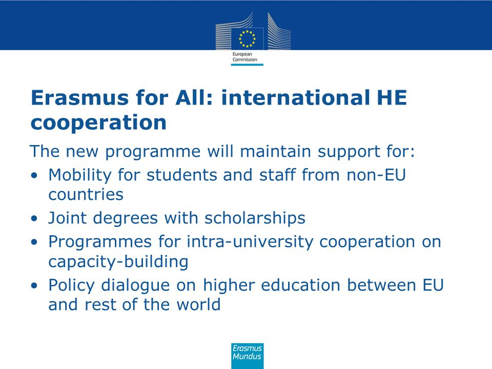 Erasmus for All: international HE cooperation