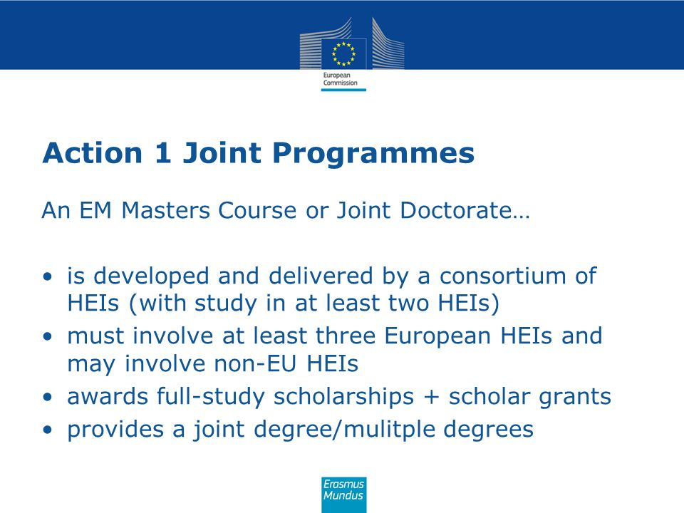 Action 1 Joint Programmes
