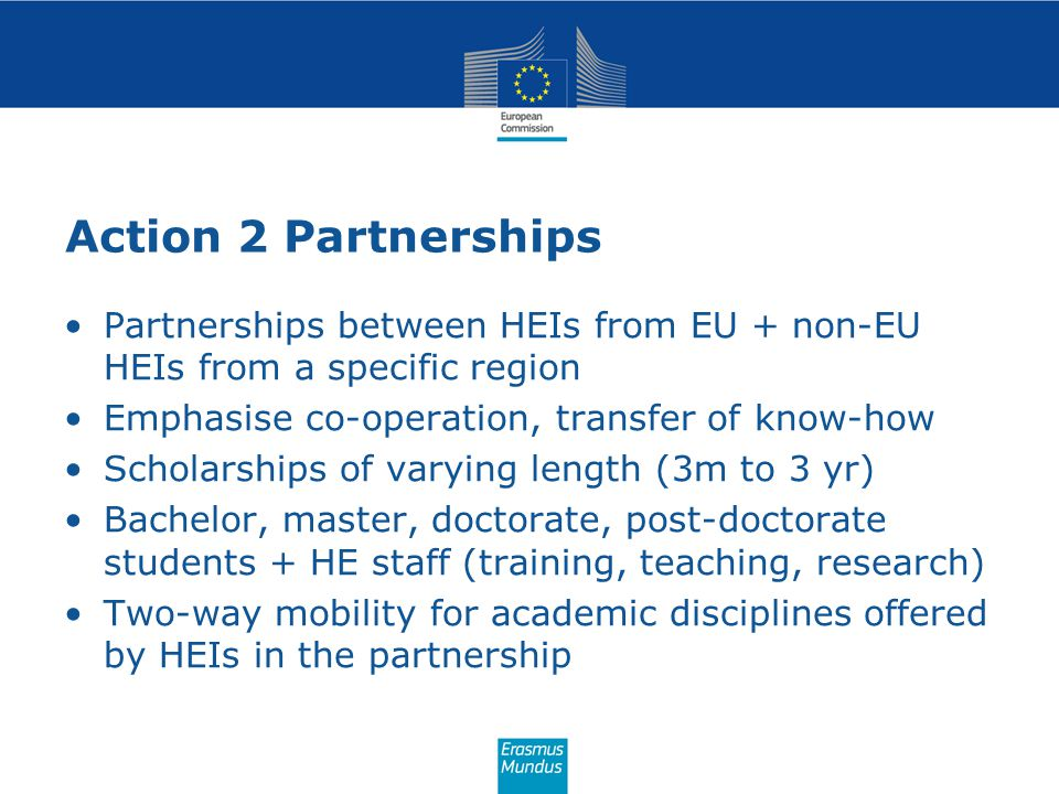 Action 2 Partnerships Partnerships between HEIs from EU + non-EU HEIs from a specific region. Emphasise co-operation, transfer of know-how.