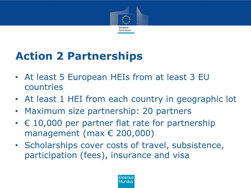 Action 2 Partnerships At least 5 European HEIs from at least 3 EU countries. At least 1 HEI from each country in geographic lot.