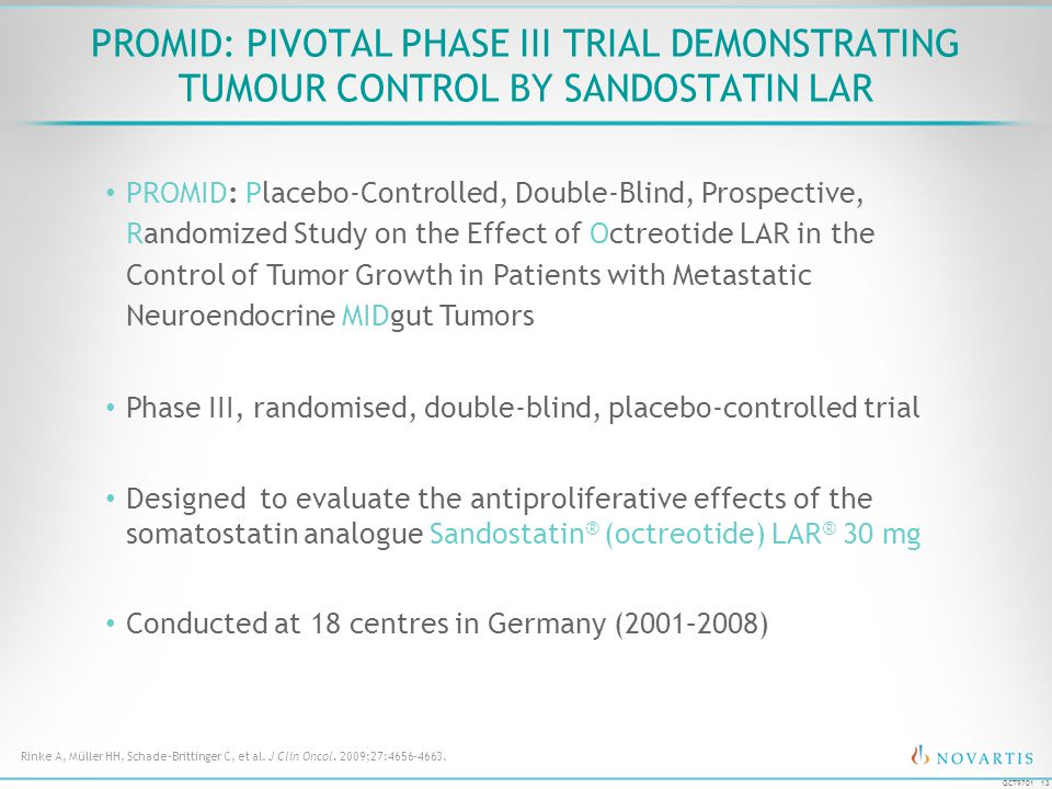 PROMID: Pivotal Phase III Trial Demonstrating Tumour Control by Sandostatin LAR