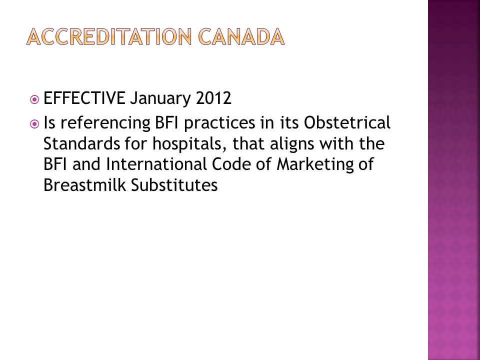 Accreditation Canada EFFECTIVE January 2012