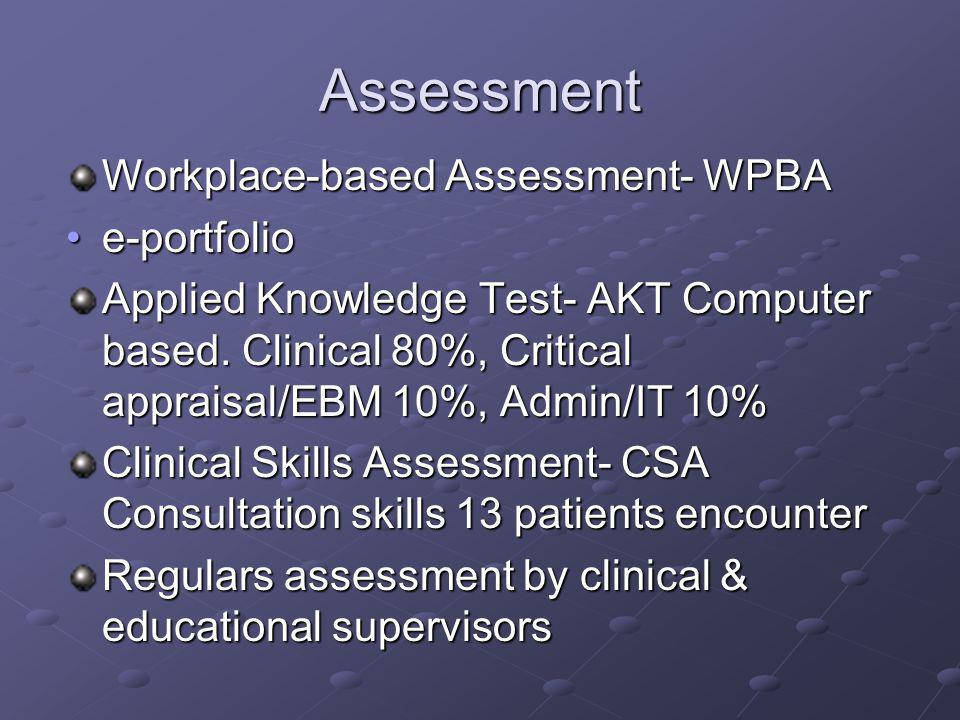 Assessment Workplace-based Assessment- WPBA e-portfolio