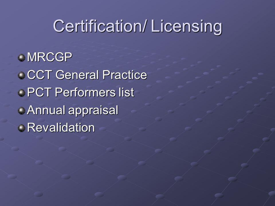 Certification/ Licensing
