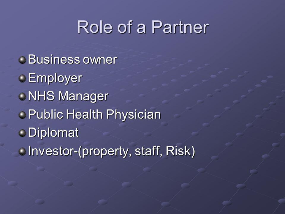 Role of a Partner Business owner Employer NHS Manager