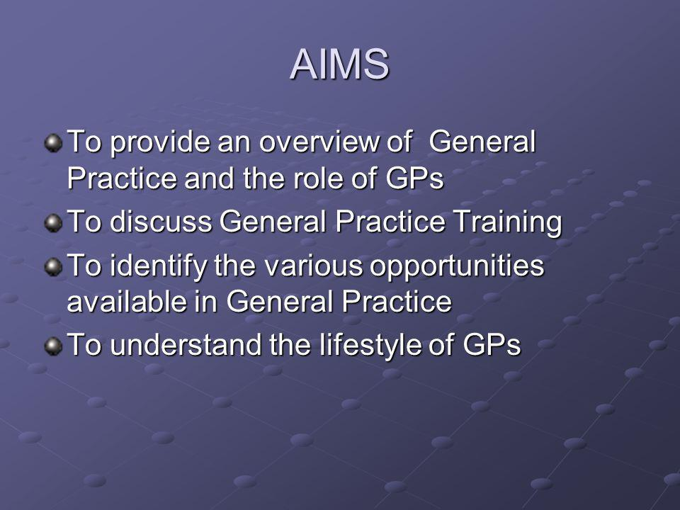 AIMS To provide an overview of General Practice and the role of GPs