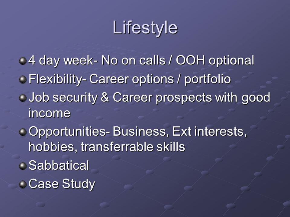 Lifestyle 4 day week- No on calls / OOH optional