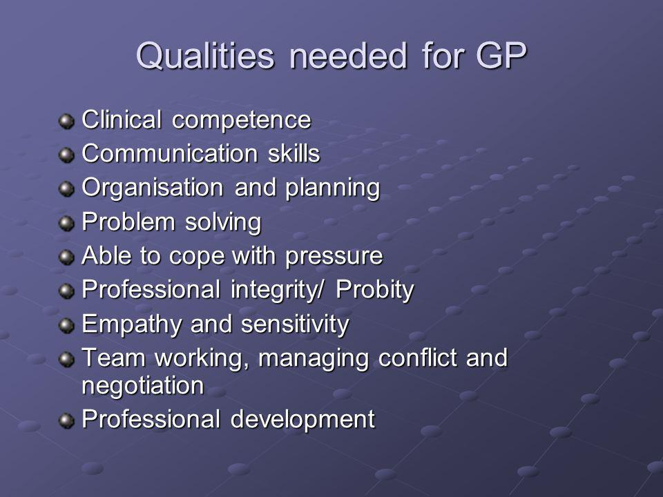 Qualities needed for GP