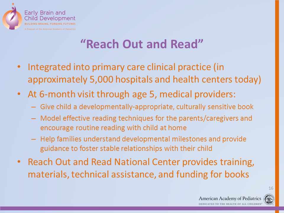 Reach Out and Read Integrated into primary care clinical practice (in approximately 5,000 hospitals and health centers today)