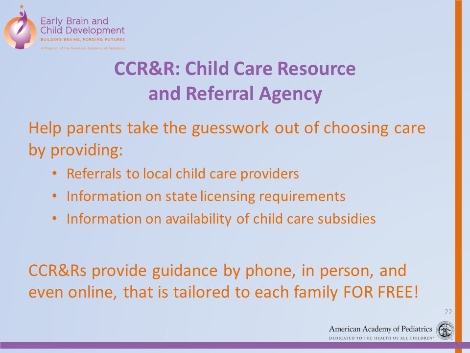 CCR&R: Child Care Resource and Referral Agency