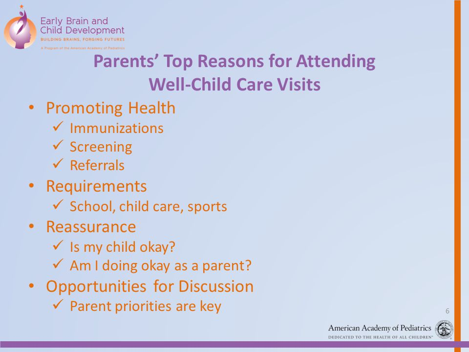 Parents' Top Reasons for Attending Well-Child Care Visits