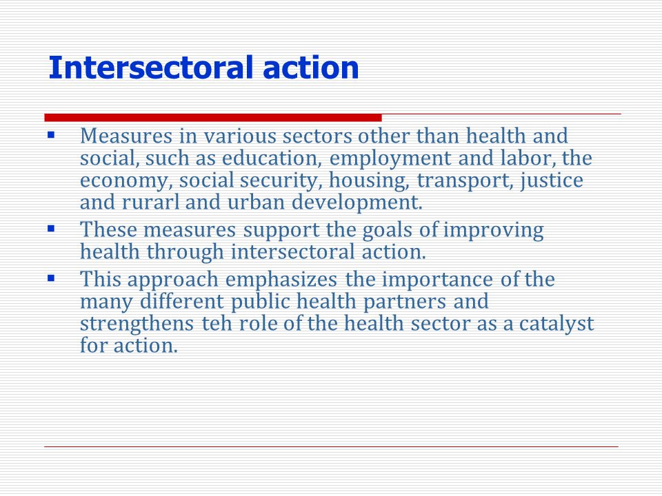 Intersectoral action
