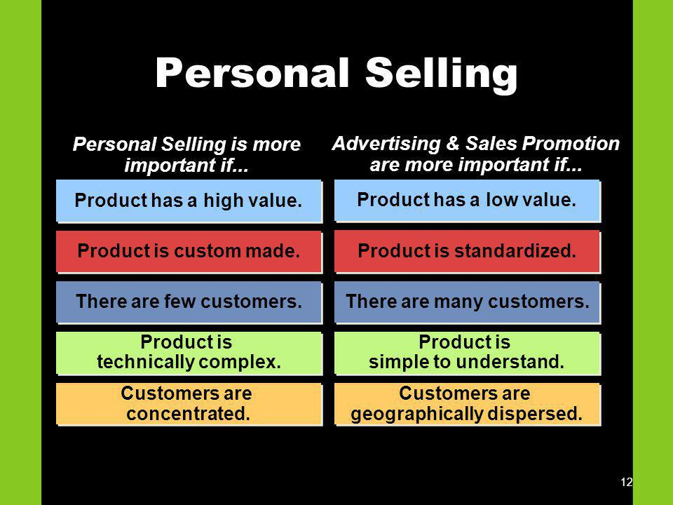 Personal Selling Personal Selling is more important if...