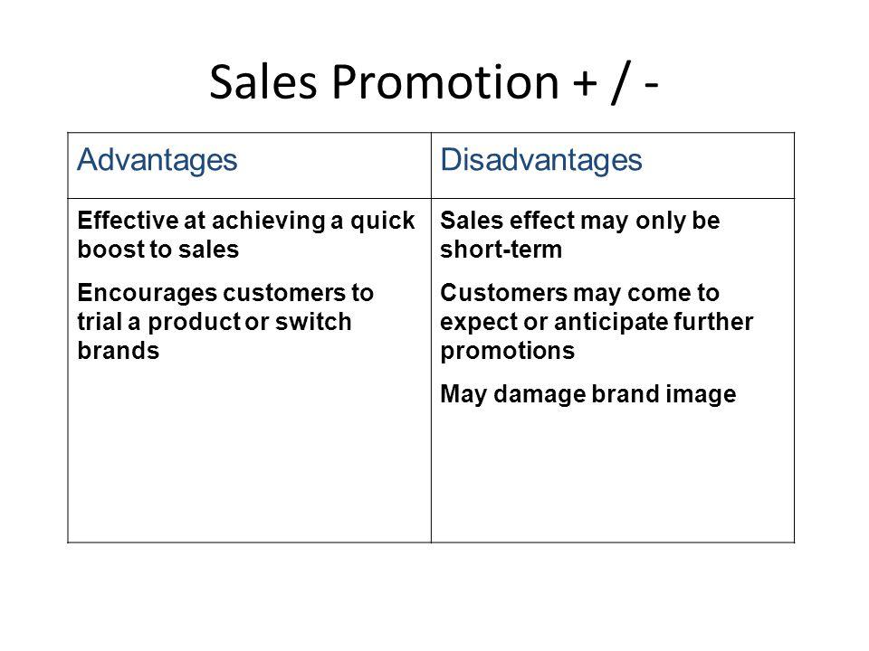 Sales Promotion + / - Advantages Disadvantages