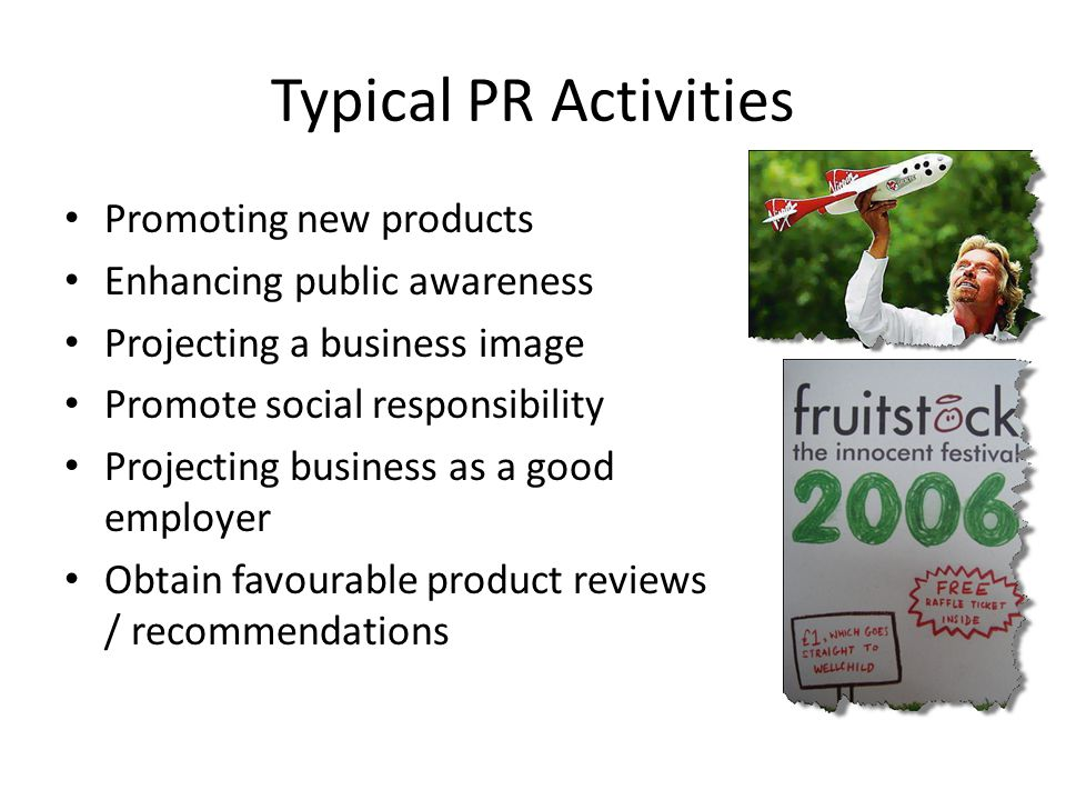 Typical PR Activities Promoting new products