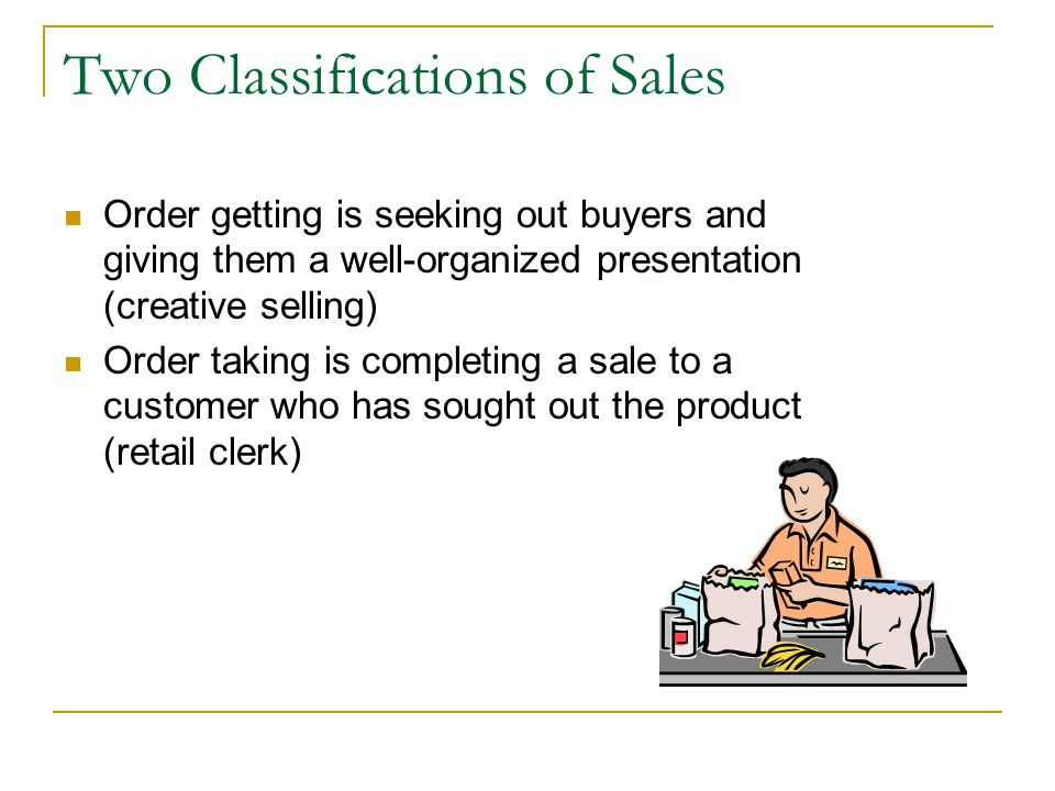 Two Classifications of Sales
