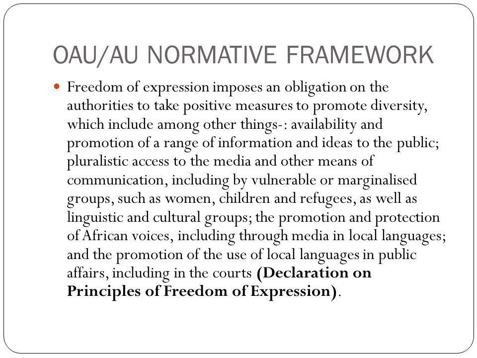 OAU/AU NORMATIVE FRAMEWORK