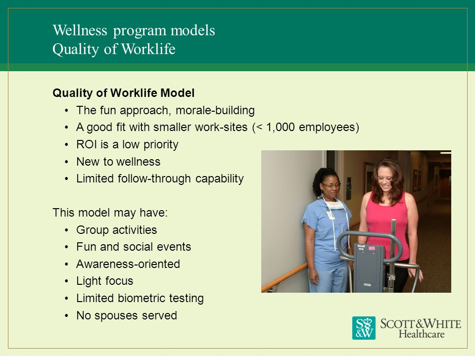 Wellness program models Quality of Worklife