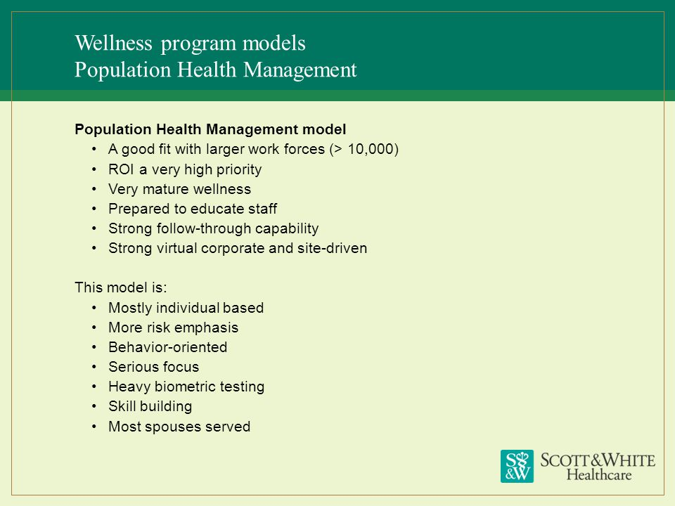 Wellness program models Population Health Management