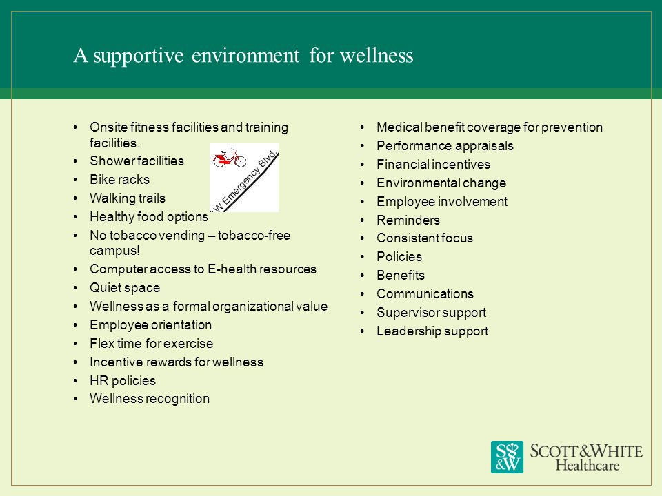 A supportive environment for wellness