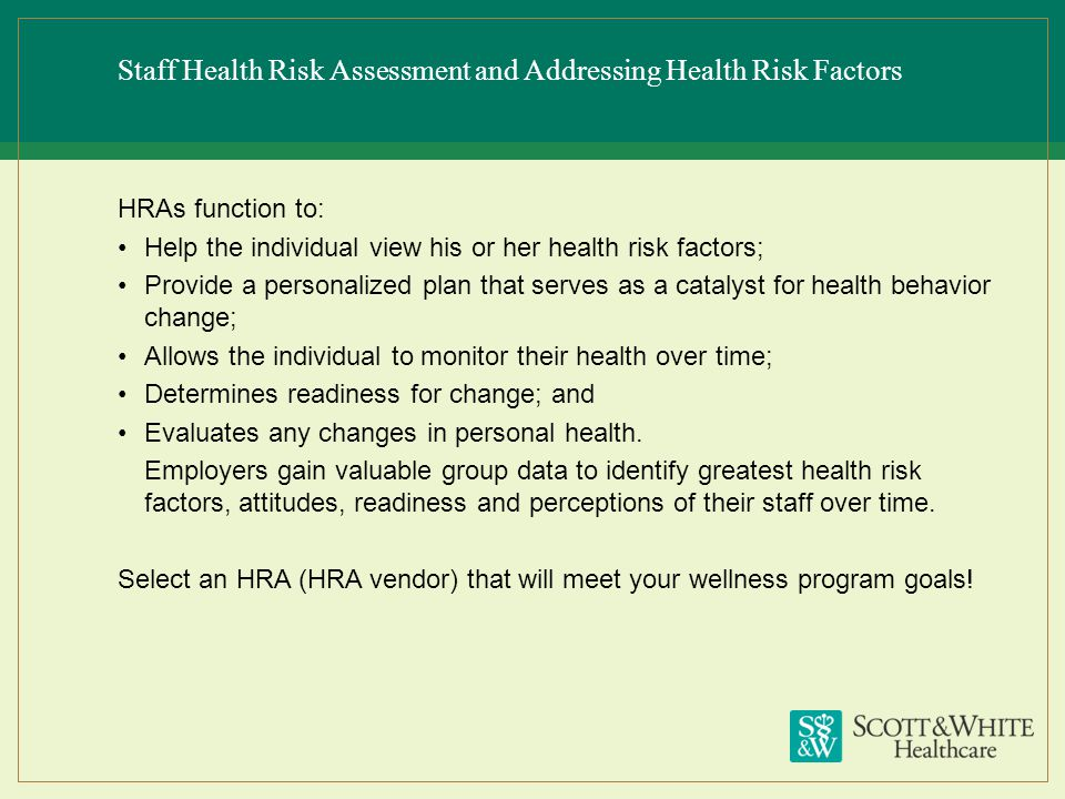 Staff Health Risk Assessment and Addressing Health Risk Factors