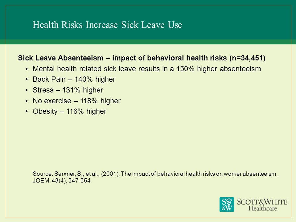 Health Risks Increase Sick Leave Use