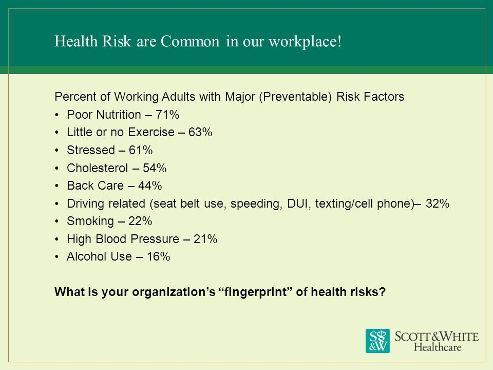 Health Risk are Common in our workplace!