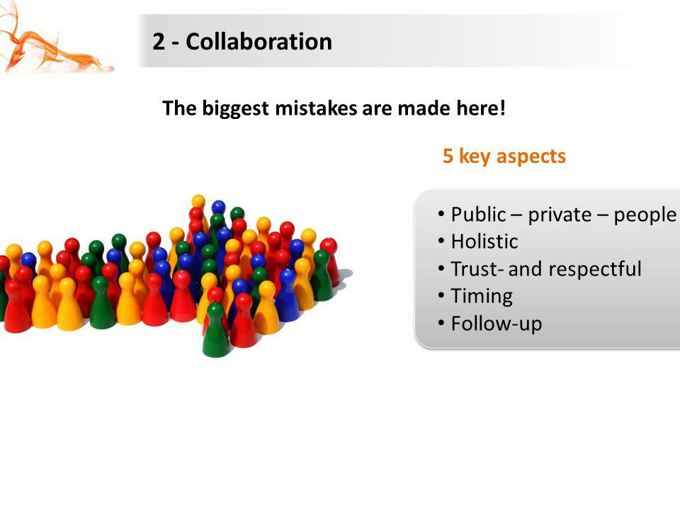 2 - Collaboration The biggest mistakes are made here! 5 key aspects