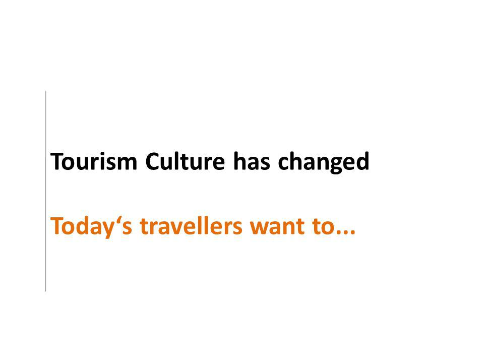 Tourism Culture has changed