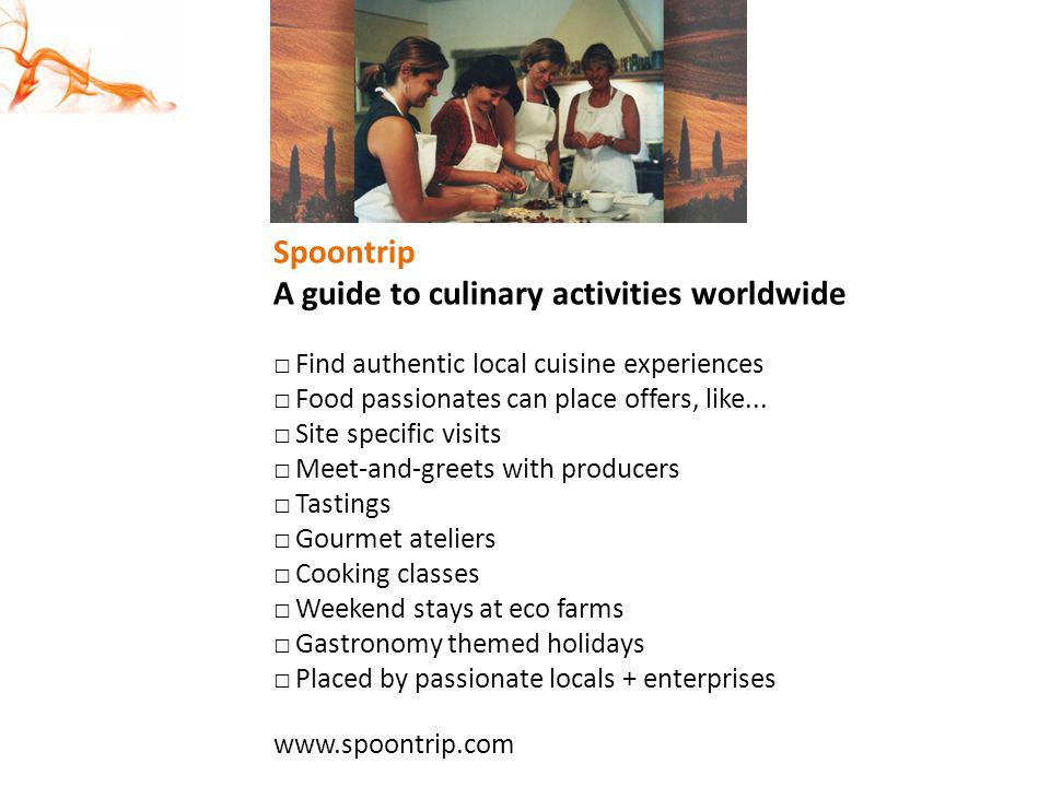 A guide to culinary activities worldwide