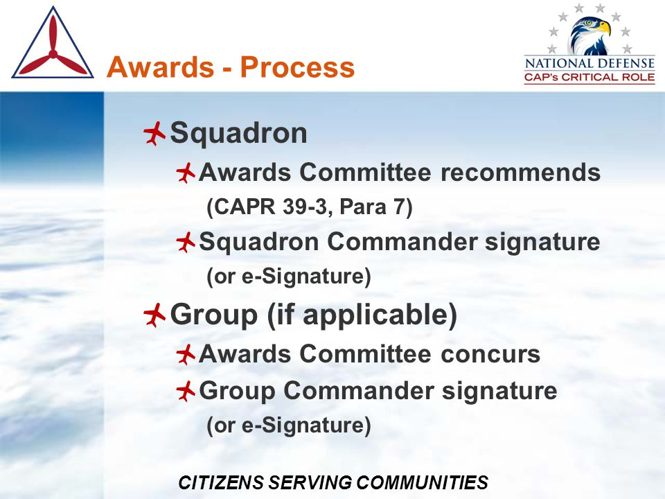 Awards - Process Squadron Group (if applicable)