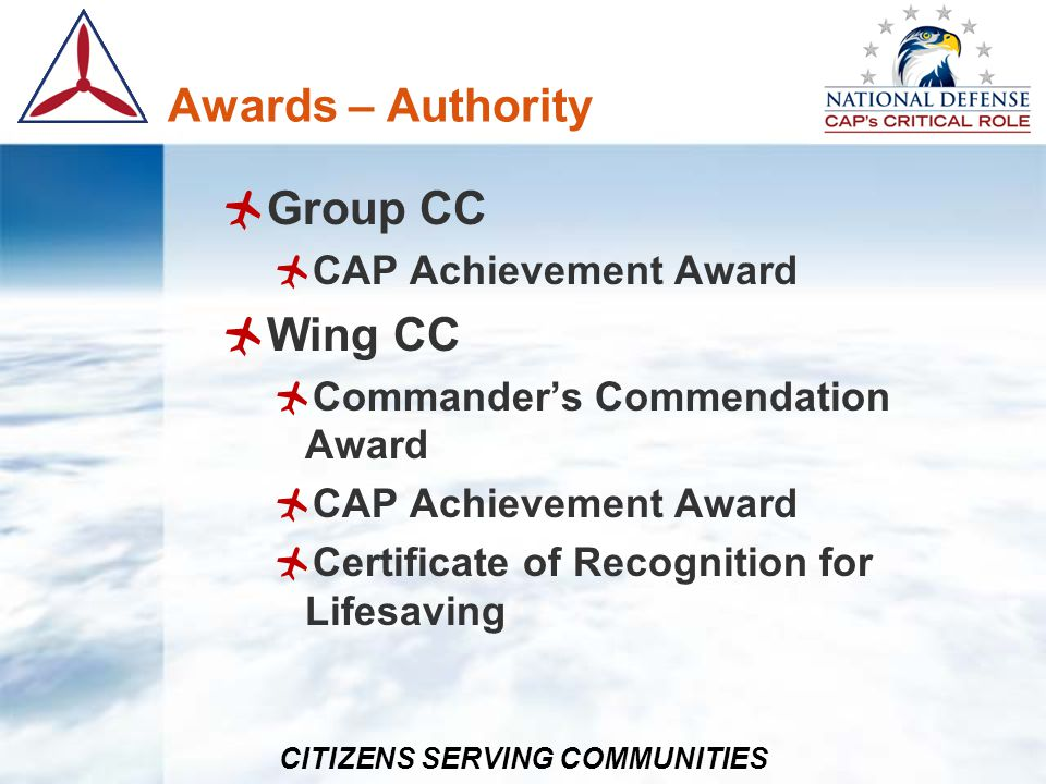 Awards – Authority Group CC Wing CC CAP Achievement Award