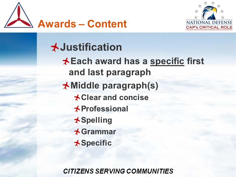 Awards – Content Justification