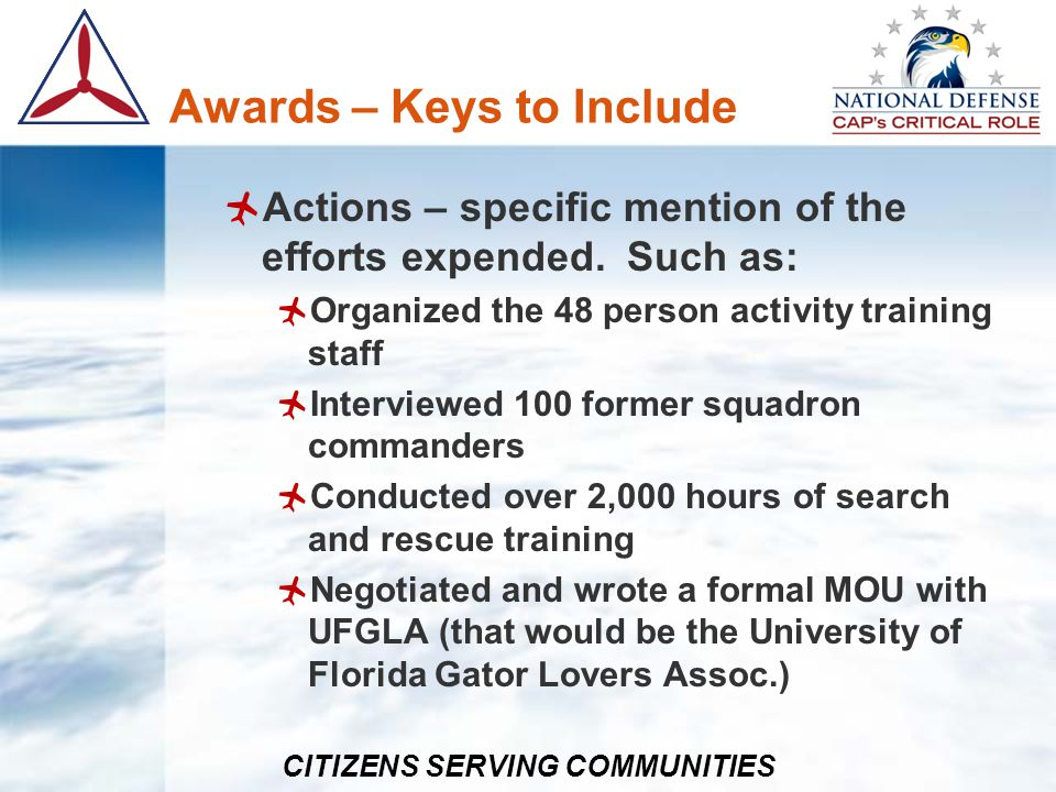 Awards – Keys to Include