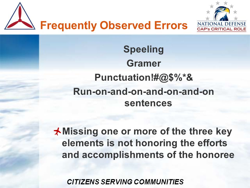 Frequently Observed Errors