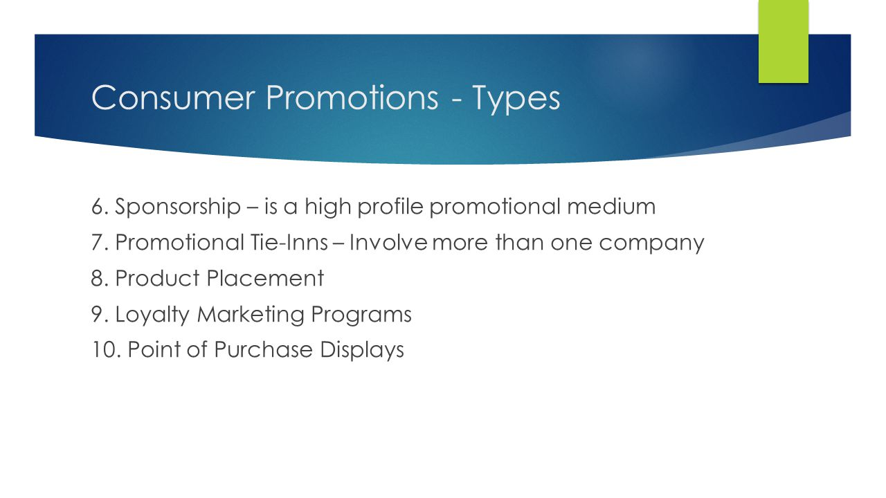 Consumer Promotions - Types