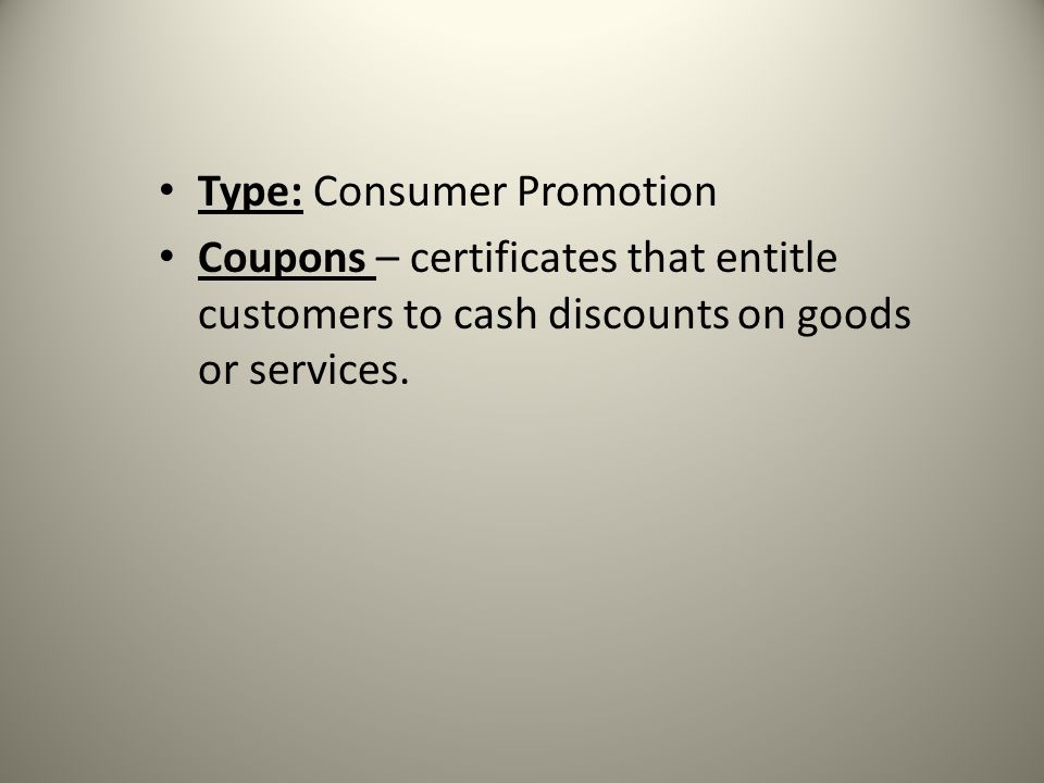 Type: Consumer Promotion