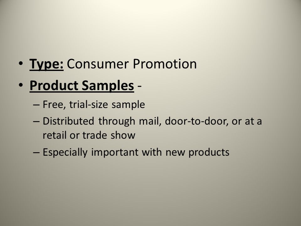 Type: Consumer Promotion Product Samples -