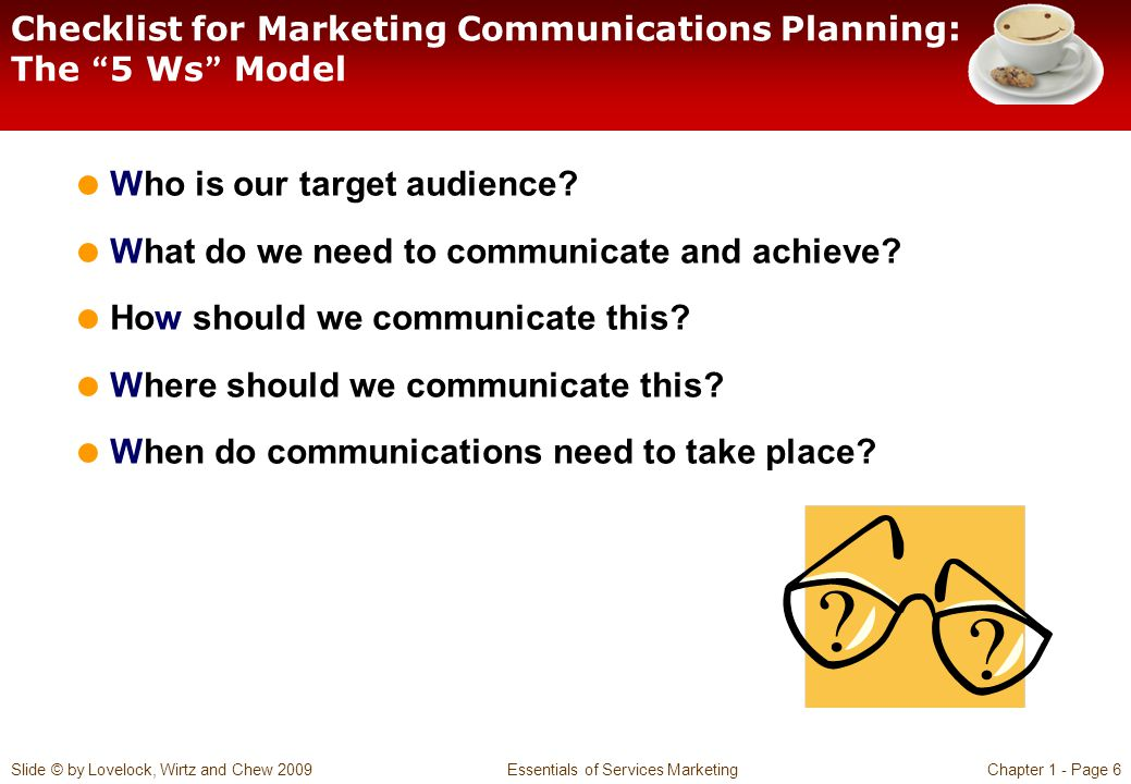 Checklist for Marketing Communications Planning: The 5 Ws Model