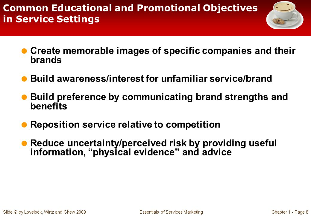 Common Educational and Promotional Objectives in Service Settings