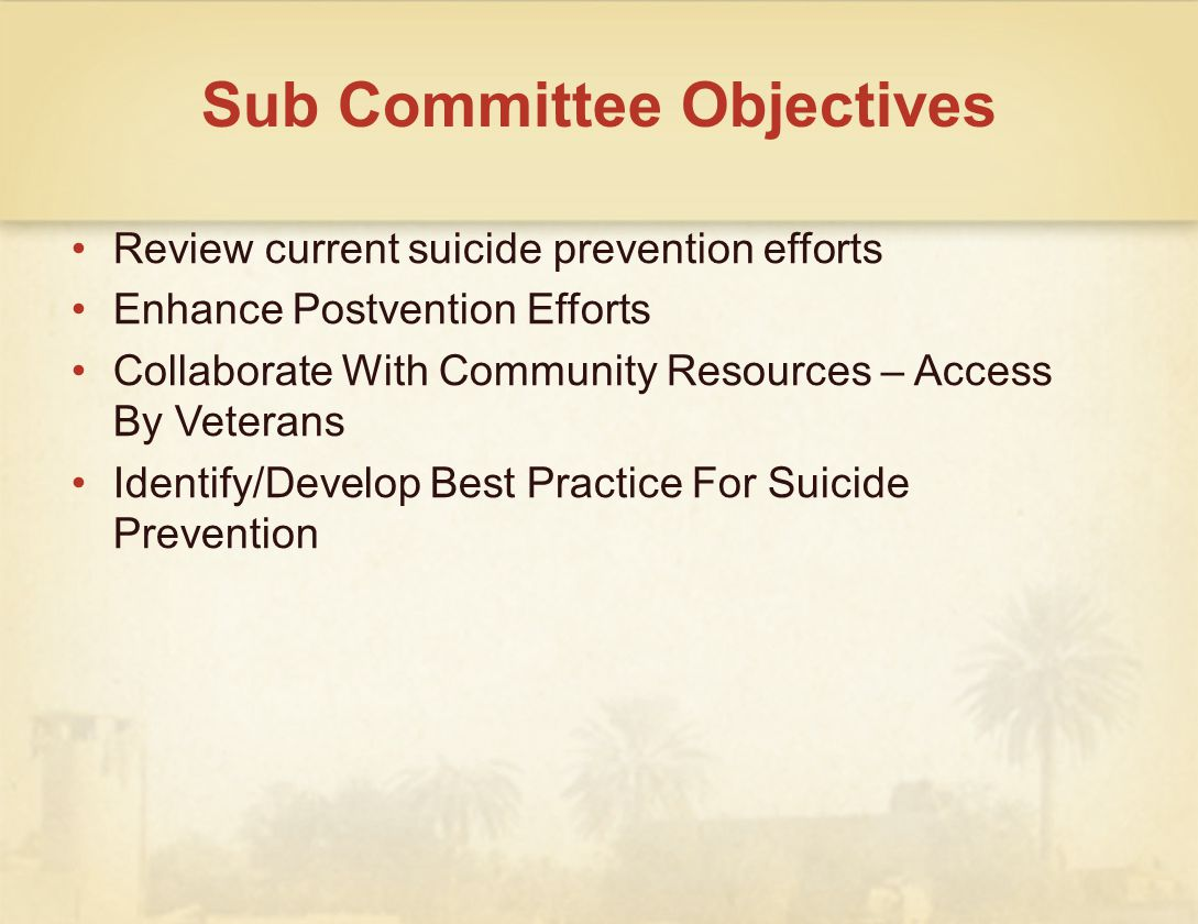 Sub Committee Objectives