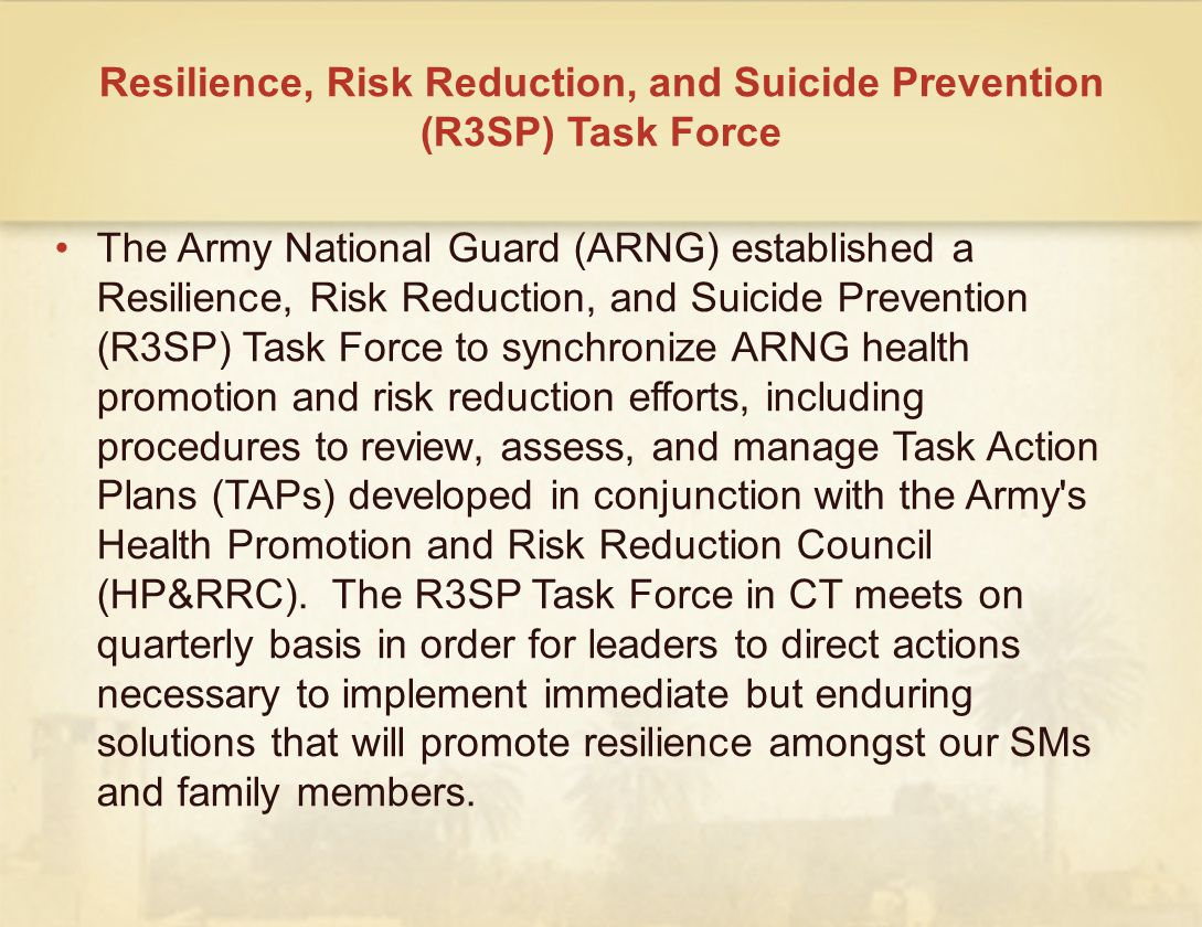 Resilience, Risk Reduction, and Suicide Prevention (R3SP) Task Force