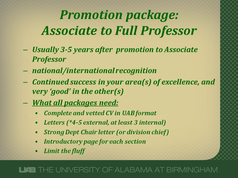 Promotion package: Associate to Full Professor