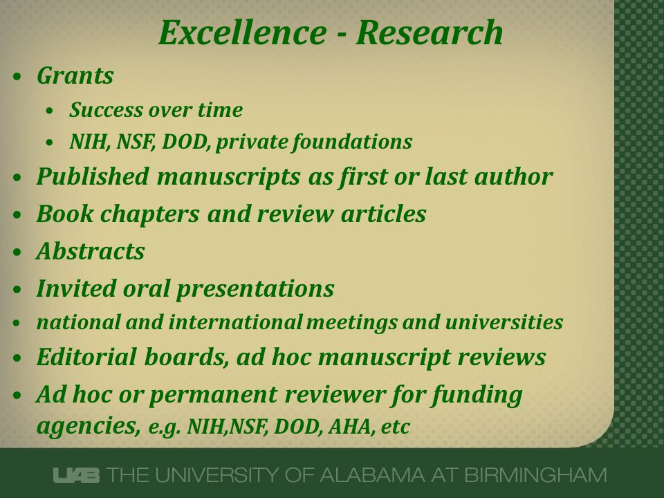 Excellence - Research Grants