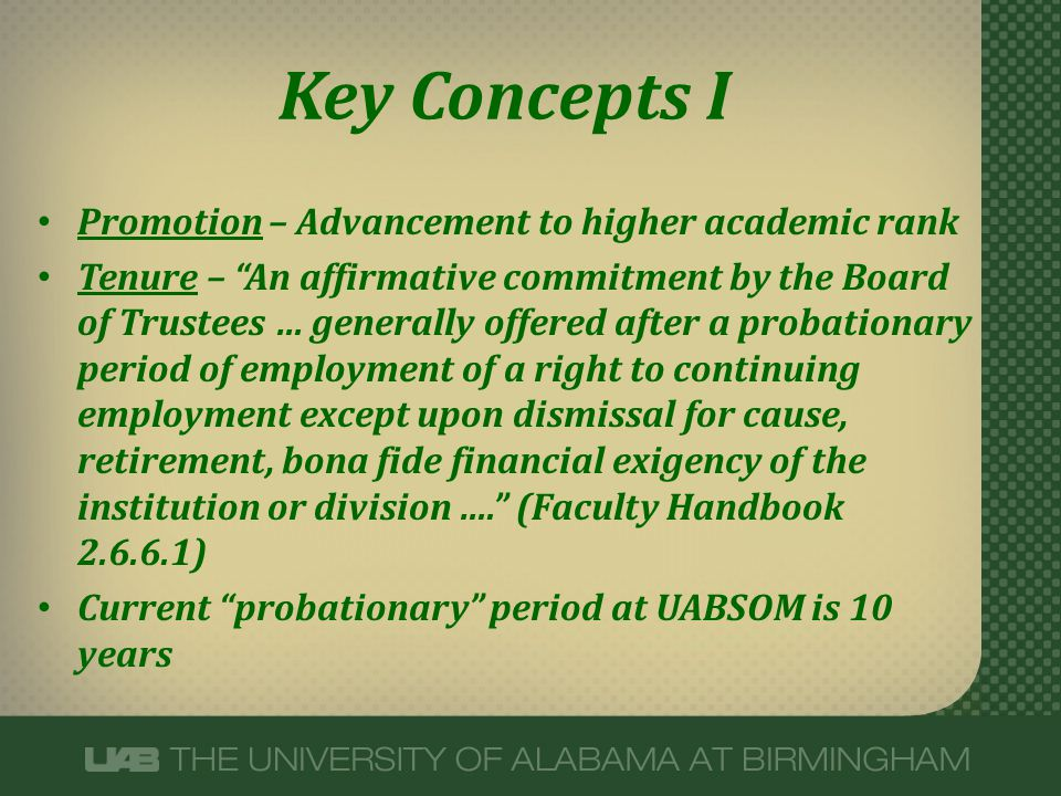 Key Concepts I Promotion – Advancement to higher academic rank