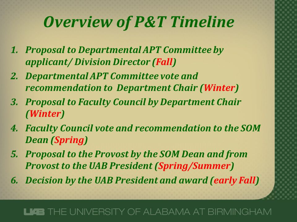 Overview of P&T Timeline