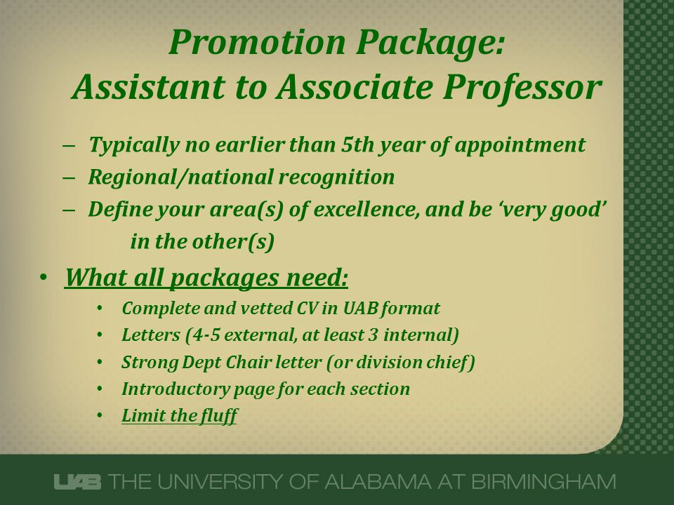 Promotion Package: Assistant to Associate Professor